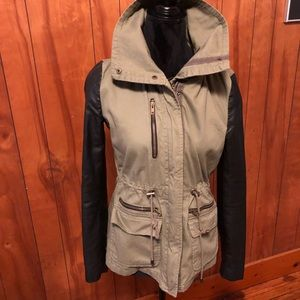 Forever 21 military parka faux leather sleeves